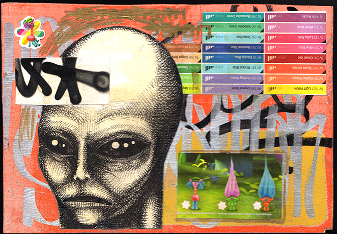 Carlos Ramirez -  <strong>No Transmission</strong> (2017<strong style = 'color:#635a27'></strong>)<bR /> acrylic, spray paint and mixed media on wood, 6 x 9 inches, $1,500