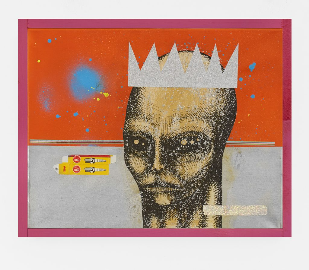 Carlos Ramirez -  <strong>Out of This World</strong> (2017<strong style = 'color:#635a27'></strong>)<bR /> acrylic, spray paint and mixed media on canvas,