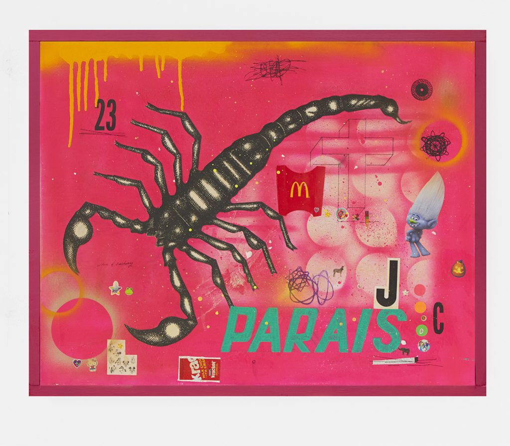 Carlos Ramirez -  <strong>Paradise</strong> (2017<strong style = 'color:#635a27'></strong>)<bR /> acrylic, spray paint and mixed media on canvas, 22 x 28 inches