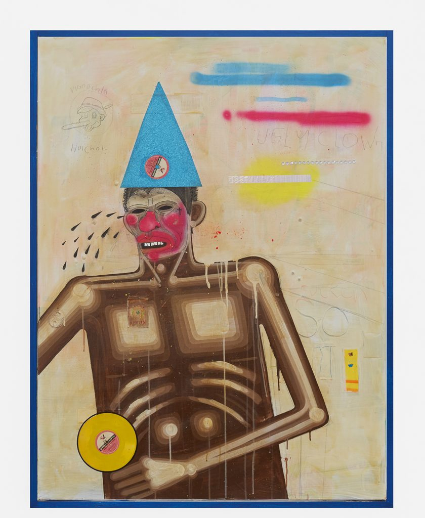 Carlos Ramirez -  <strong>Sad Clowns</strong> (2017<strong style = 'color:#635a27'></strong>)<bR /> acrylic, spray paint and mixed media on canvas, 48 x 36 inches
