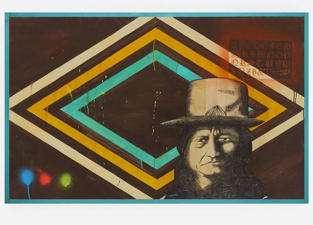 Carlos Ramirez -  <strong>Sitting Bull</strong> (2017<strong style = 'color:#635a27'></strong>)<bR /> acrylic, spray paint and mixed media on canvas,  48 x 30 inches
