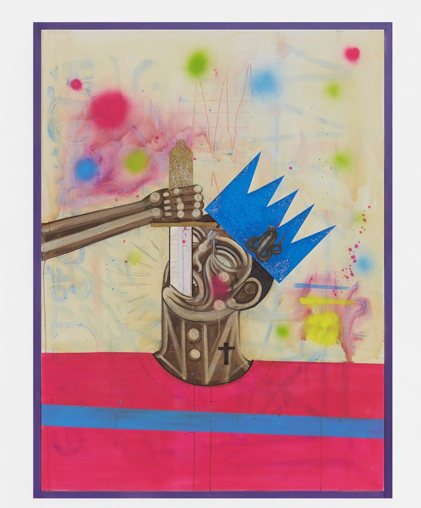 Carlos Ramirez -  <strong>Sword Swallower</strong> (2017<strong style = 'color:#635a27'></strong>)<bR /> acrylic, spray paint and mixed media on canvas, 