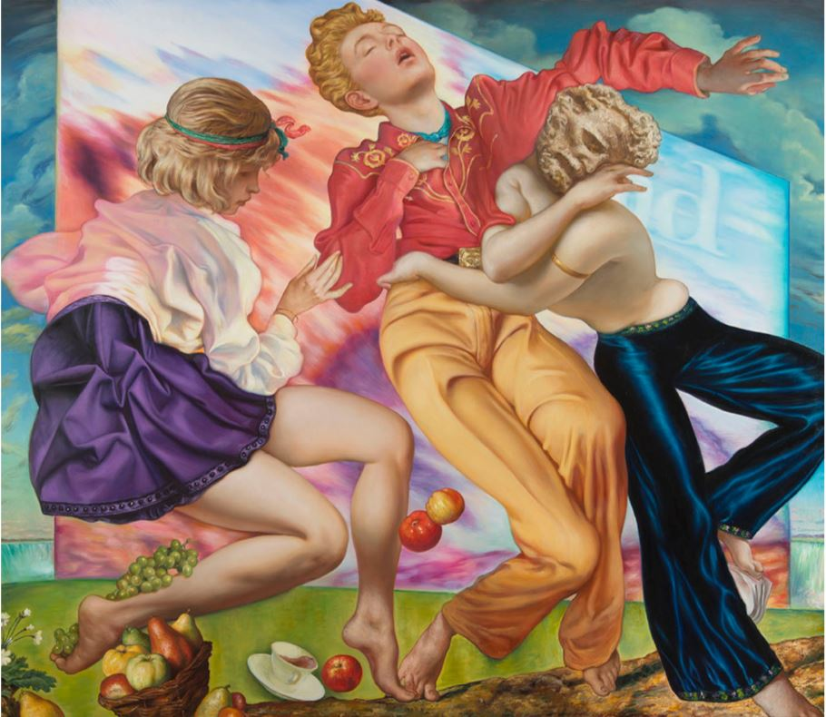 Jamie Adams -  <strong>Drive-In Dancers</strong> (2018<strong style = 'color:#635a27'></strong>)<bR /> oil on linen, 84 x 96 inches