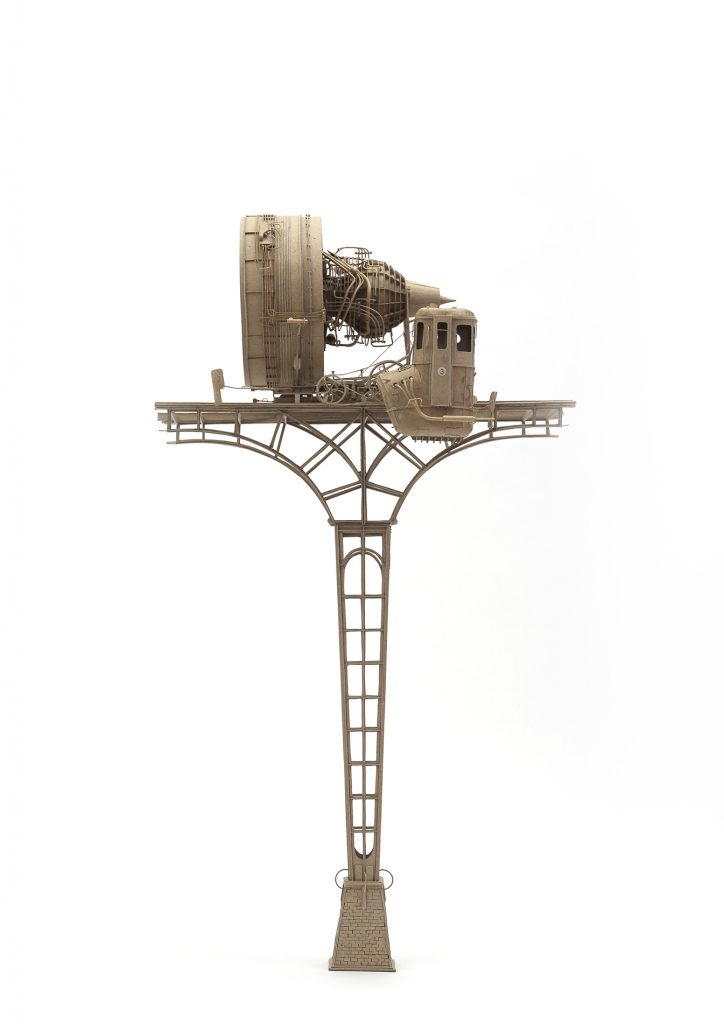 Daniel Agdag -  <strong>The General and the Caboose</strong> (2017<strong style = 'color:#635a27'></strong>)<bR /> cardboard mounted on timber base with hand-blown glass dome, 23 x 12 x 12 inches $8,500