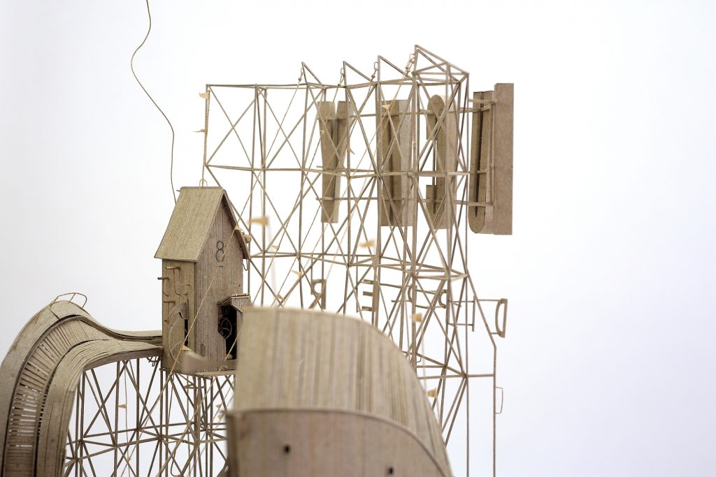Daniel Agdag -  <strong>The 2nd State (detail)</strong> (2017<strong style = 'color:#635a27'></strong>)<bR /> cardboard and trace paper mounted on timber base with hand-blown glass dome, 23 x 12 x 12 inches