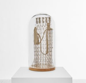 Daniel Agdag -  <strong>The Second State</strong> (2017<strong style = 'color:#635a27'></strong>)<bR /> cardboard and trace paper mounted on timber base with hand-blown glass dome, 23 x 12 x 12 inches