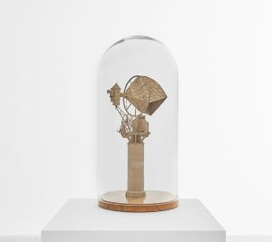 Daniel Agdag -  <strong>The Still House</strong> (2017<strong style = 'color:#635a27'></strong>)<bR /> cardboard mounted on timber base with hand-blown glass dome, 23 x 12 x 12 inches