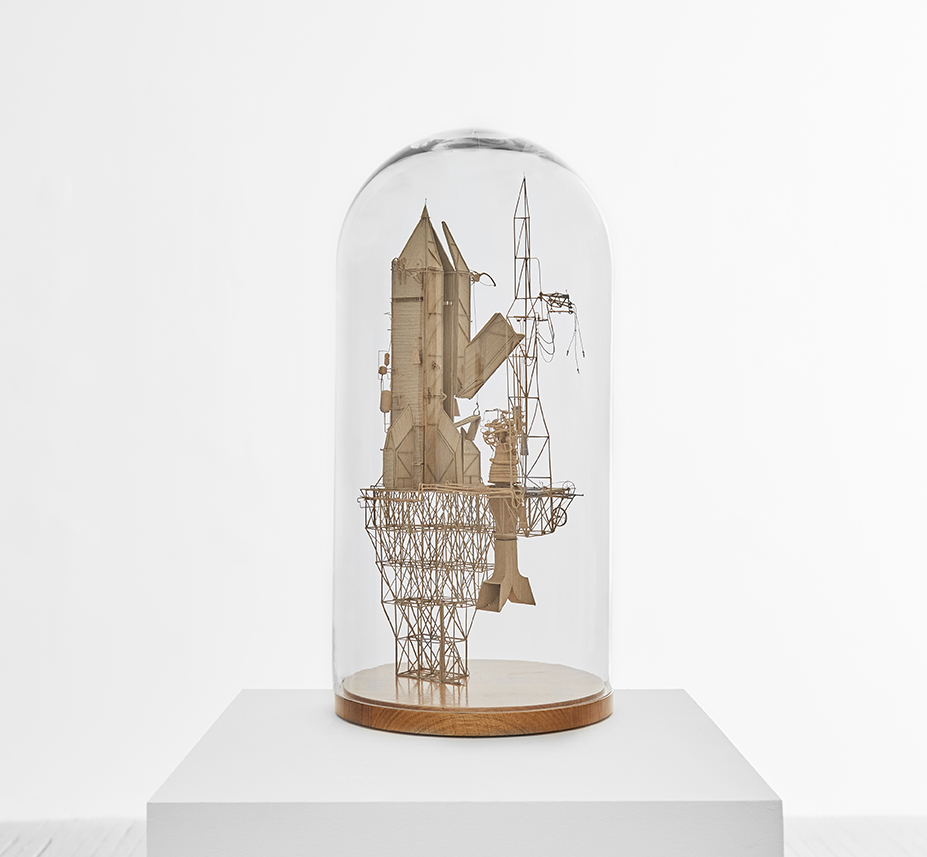 Daniel Agdag -  <strong>The Chapel</strong> (2017<strong style = 'color:#635a27'></strong>)<bR /> cardboard mounted on timber base with hand-blown glass dome, 23 x 12 x 12 inches