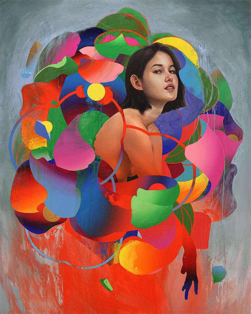 Erik Jones -  <strong>The Flower</strong> (2017<strong style = 'color:#635a27'></strong>)<bR /> watercolor, pencil, acrylic, wax pastel, oil on paper mounted to wood panel, 48 x 60 inches $10,500