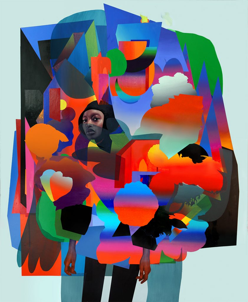 Erik Jones -  <strong>Armor</strong> (2017<strong style = 'color:#635a27'></strong>)<bR /> watercolor, pencil, acrylic, wax pastel, oil on paper mounted to wood panel, 78 x 95 inches