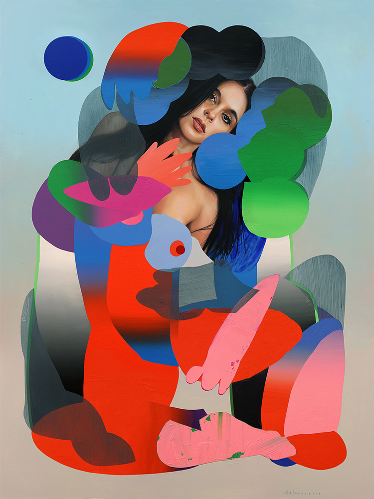 Erik Jones -  <strong>The Shadow</strong> (2017<strong style = 'color:#635a27'></strong>)<bR /> watercolor, pencil, acrylic, wax pastel, oil on paper mounted to wood panel, 36 x 48 inches