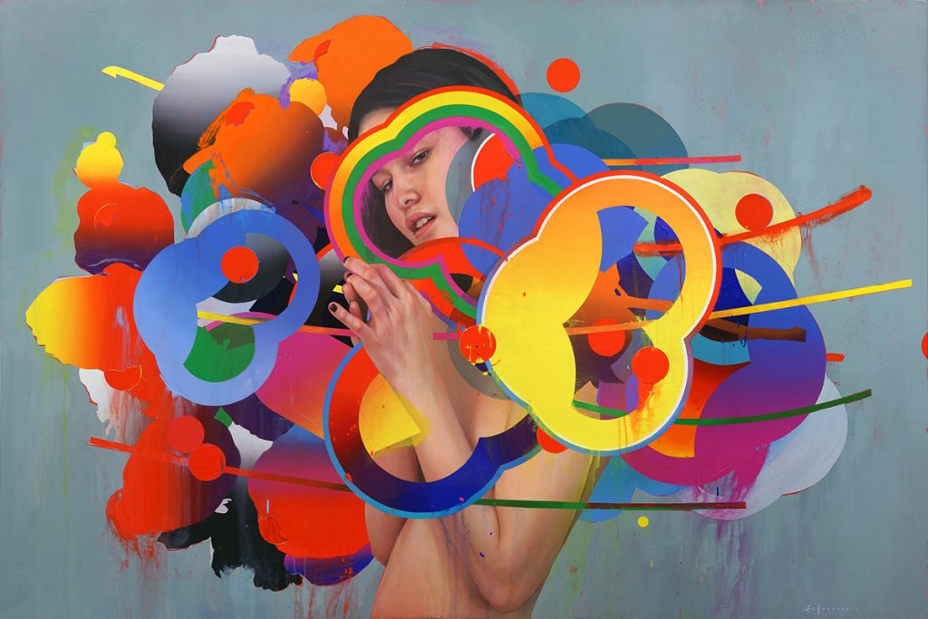 Erik Jones -  <strong>The Tree</strong> (2017<strong style = 'color:#635a27'></strong>)<bR /> watercolor, pencil, acrylic, wax pastel, oil on paper mounted to wood panel, 72 x 36 inches