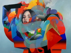 Erik Jones -  <strong>The Machine</strong> (2017<strong style = 'color:#635a27'></strong>)<bR /> watercolor, pencil, acrylic, wax pastel, oil on paper mounted to wood panel, 72 x 96 inches $18,500