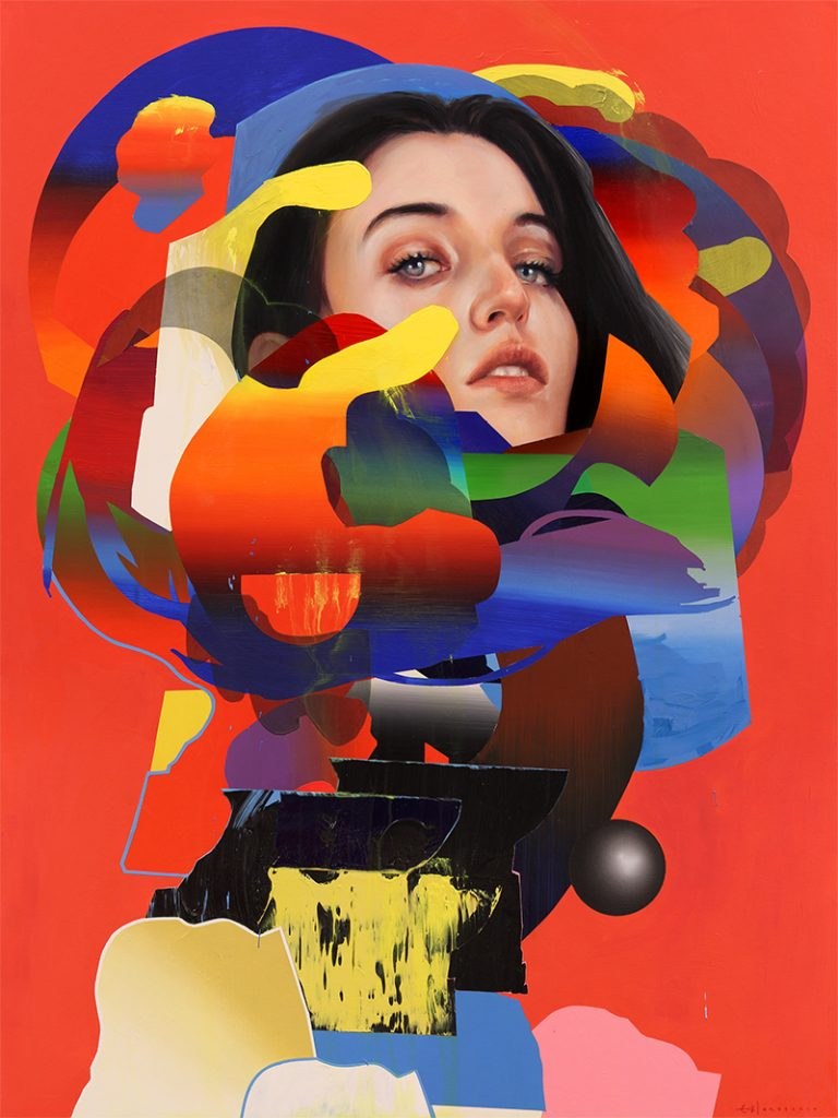 Erik Jones -  <strong>The Spider</strong> (2017<strong style = 'color:#635a27'></strong>)<bR /> watercolor, pencil, acrylic, wax pastel, oil on paper mounted to wood panel, 36 x 48 inches