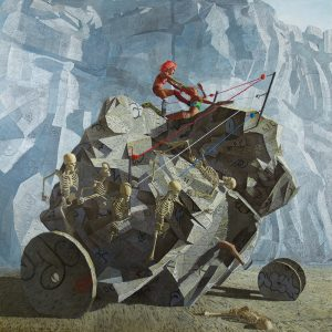 John Jacobsmeyer -  <strong>Chariot</strong> (2018<strong style = 'color:#635a27'></strong>)<bR /> oil on aluminum, 60 x 60 inches $15,000