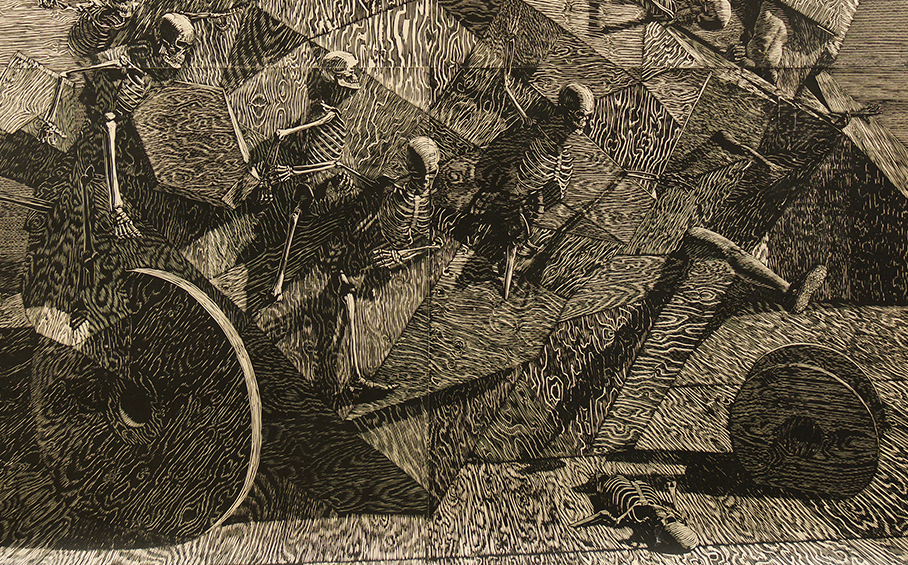 John Jacobsmeyer -  <strong>Chariot (detail)</strong> (2017<strong style = 'color:#635a27'></strong>)<bR /> woodcut on Gampi, 56 x 56 inches $1,600