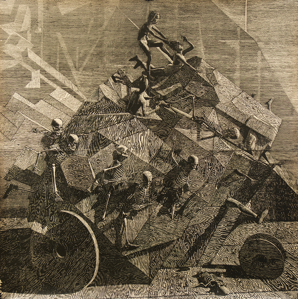John Jacobsmeyer -  <strong>Chariot</strong> (2017<strong style = 'color:#635a27'></strong>)<bR /> woodcut on Gampi, 56 x 56 inches