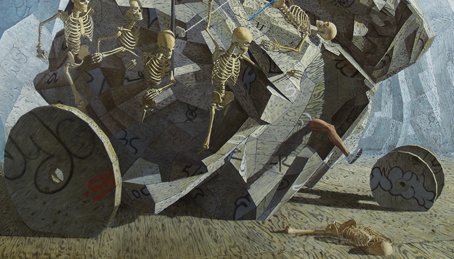 John Jacobsmeyer -  <strong>Chariot (detail)</strong> (2018<strong style = 'color:#635a27'></strong>)<bR /> oil on aluminum, 60 x 60 inches