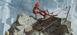 John Jacobsmeyer -  <strong>Chariot (detail)</strong> (2018<strong style = 'color:#635a27'></strong>)<bR /> oil on aluminum, 60 x 60 inches $15,000