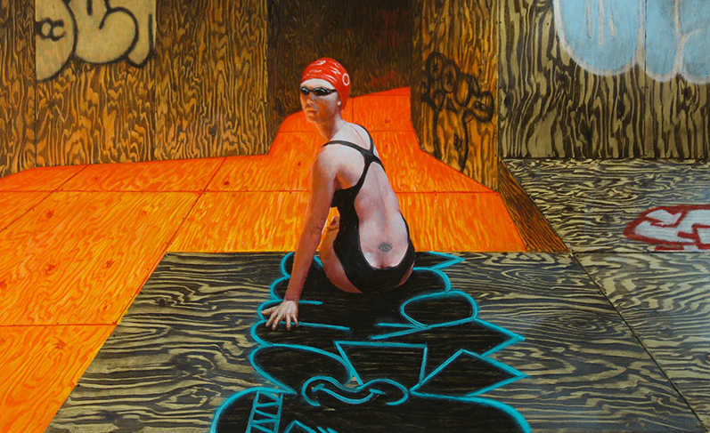 John Jacobsmeyer -  <strong>Hot Swim (detail)</strong> (2018<strong style = 'color:#635a27'></strong>)<bR /> oil on aluminum, 20 x 20 inches