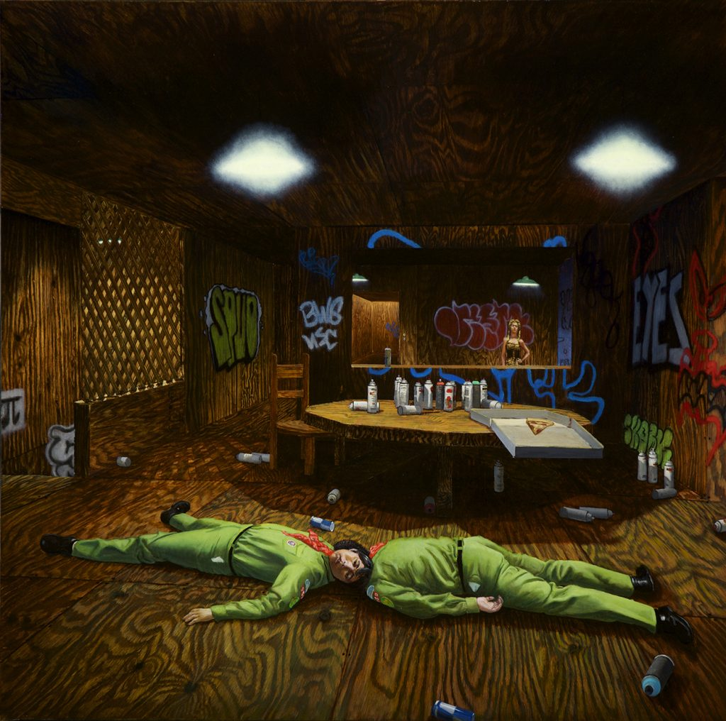 John Jacobsmeyer -  <strong>Patrol Meeting</strong> (2016<strong style = 'color:#635a27'></strong>)<bR /> oil on aluminum, 28 x 28 inches