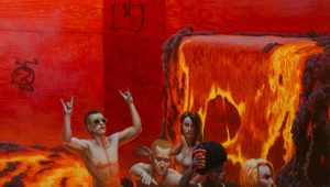 John Jacobsmeyer -  <strong>Party Boat (detail)</strong> (2018<strong style = 'color:#635a27'></strong>)<bR /> oil on aluminum, 28 x 28 inches
