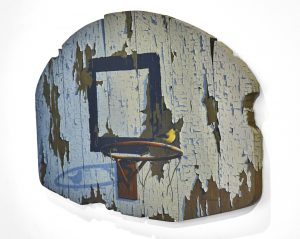 Josh Tiessen -  <strong>Defending The Paint (side)</strong> (2014<strong style = 'color:#635a27'></strong>)<bR /> oil on braced baltic birch, 20 x 32 inches