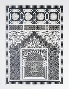 Julia Ibbini -  <strong>Alhambra Study No. 2	</strong> (2017<strong style = 'color:#635a27'></strong>)<bR /> lasercut paper over ink on mylar, 26.5 x 22.125 inches (framed) $2,500