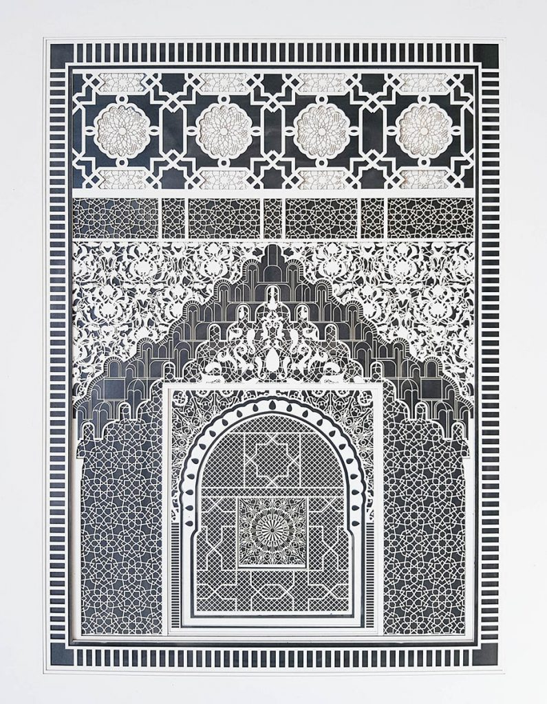 Julia Ibbini -  <strong>Alhambra Study No. 2	</strong> (2017<strong style = 'color:#635a27'></strong>)<bR /> lasercut paper over ink on mylar, 26.5 x 22.125 inches (framed)