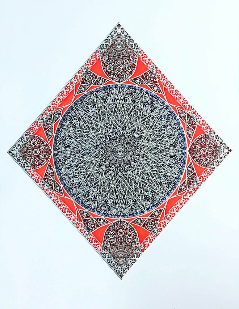 Julia Ibbini -  <strong>Untitled Study (Emam)</strong> (2017<strong style = 'color:#635a27'></strong>)<bR /> lasercut paper over ink on mylar, 29.5 x 24.25 inches (framed) $2,800