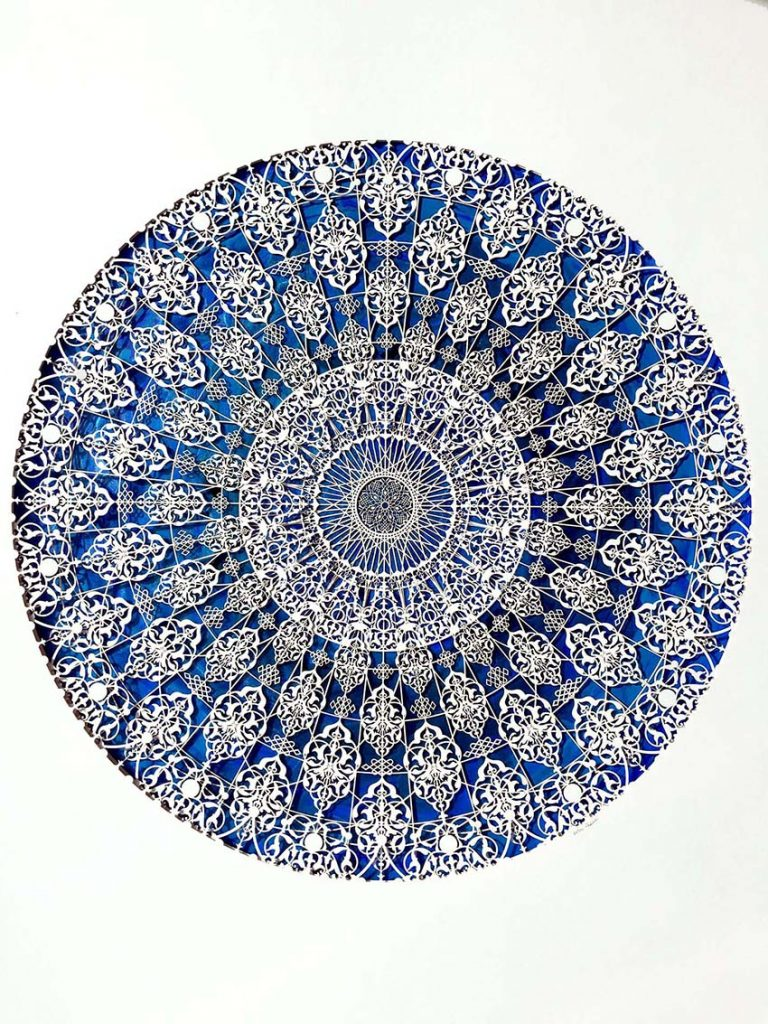 Julia Ibbini -  <strong>Untitled Study (The Compass)</strong> (2017<strong style = 'color:#635a27'></strong>)<bR /> lasercut paper over ink on mylar, 33.37 x 28 inches (framed) $2,800