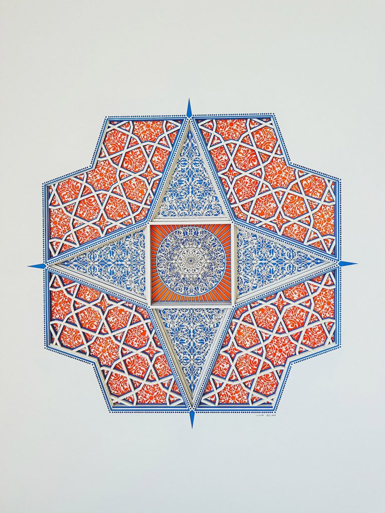 Julia Ibbini -  <strong>Untitled Study (Touba)</strong> (2017<strong style = 'color:#635a27'></strong>)<bR /> lasercut paper over ink on mylar, 32.63 x 27.25 inches (framed) $2,800