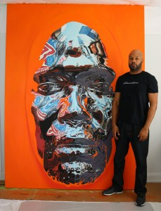 Kip Omolade -  <strong>Diovadiova Chrome Kip VI (scale)</strong> (2017<strong style = 'color:#635a27'></strong>)<bR /> oil on canvas 72 x 96 inches