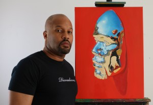 Kip Omolade -  <strong>Diovadiova Chrome Kip X (scale)</strong> (2017<strong style = 'color:#635a27'></strong>)<bR /> oil on canvas 18 x 24 inches