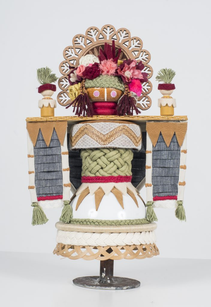 Koralie -  <strong>Chloristopec (Goddess of Flowers and Spring)</strong> (2018<strong style = 'color:#635a27'></strong>)<bR /> porcelain, wood, fabric and metal, 16 x 9.5 inches
