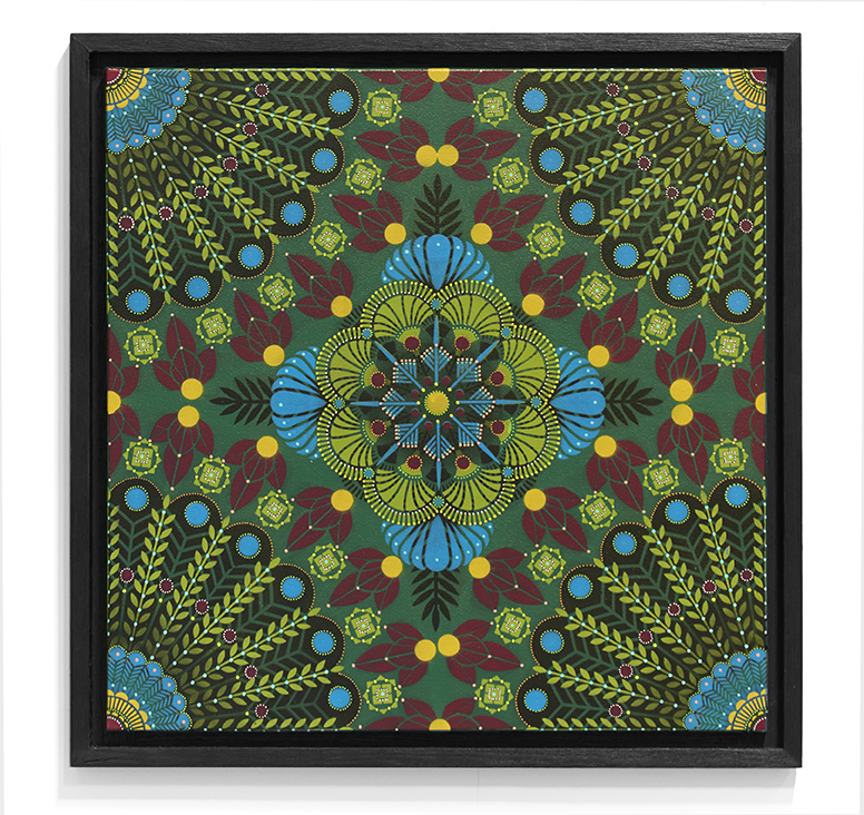 Koralie -  <strong>Kaleidoscopic Nature 11</strong> (2018<strong style = 'color:#635a27'></strong>)<bR /> acrylic on canvas with wood frame, 23.6 x 23.6 inches