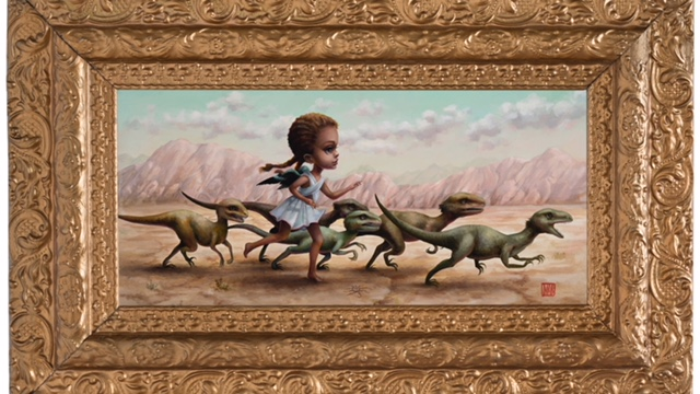 Mab Graves -  <strong>Velociraptor Runner</strong> (2017<strong style = 'color:#635a27'></strong>)<bR /> oil on Belgian linen,  8 x 16 inches (framed: 17 x 23 inches)