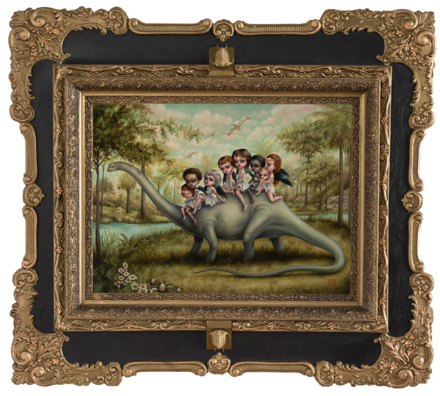 Mab Graves -  <strong>The Brontosaurus Riders</strong> (2017<strong style = 'color:#635a27'></strong>)<bR /> oil on Belgian linen, 18 x 24 inches (framed: 29 x 35 inches)