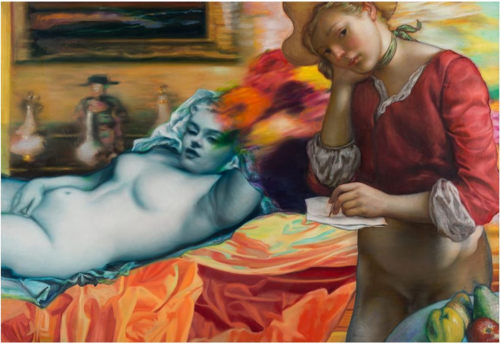 Jamie Adams -  <strong>Blue Marilyn</strong> (2016<strong style = 'color:#635a27'></strong>)<bR /> Oil on linen 47 x 68 inches 2016