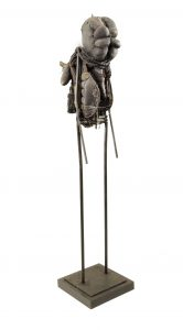 Ronald Gonzalez -  <strong>Fetish</strong> (2015<strong style = 'color:#635a27'></strong>)<bR /> manipulated found objects, wax, wire, soot, metal filings over welded steel, 65 x 13 inches, $4,500