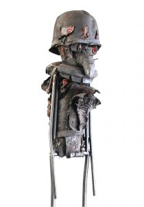 Ronald Gonzalez -  <strong>Snout</strong> (2017<strong style = 'color:#635a27'></strong>)<bR /> manipulated found objects, wax, wire, soot, metal filings over welded steel, 65 x 13 inches