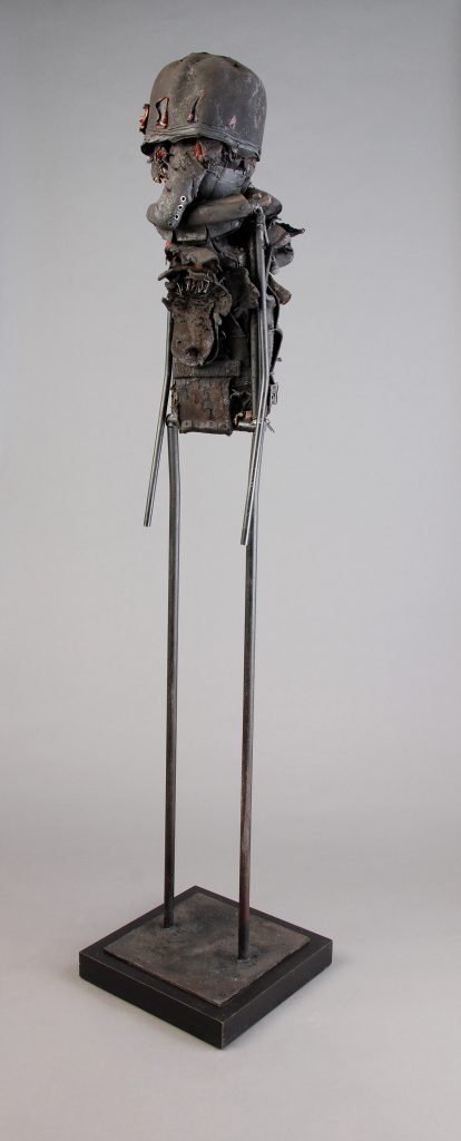 Ronald Gonzalez -  <strong>Snout</strong> (2017<strong style = 'color:#635a27'></strong>)<bR /> manipulated found objects, wax, wire, soot, metal filings over welded steel, 65 x 13 inches $4,500