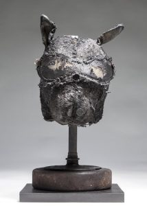 Ronald Gonzalez -  <strong>Sleeping Animal</strong> (2016<strong style = 'color:#635a27'></strong>)<bR /> manipulated found objects, wax, wire, soot, metal filings over welded steel,  13 x 7 x 7 inches $2,250