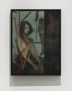 João Ruas -  <strong>Tempestade</strong> (2017<strong style = 'color:#635a27'></strong>)<bR /> mixed media on Fabriano and wood, 19.7 x 14.9 inches, (50 x 38 cm) $4,700