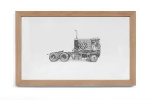 Kevin Cyr -  <strong>Kenworth</strong> (2017<strong style = 'color:#635a27'></strong>)<bR /> graphite on paper, 13.25 x 21.25 inches,  $1,400