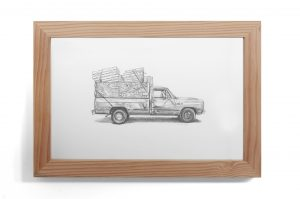 Kevin Cyr -  <strong>Oak</strong> (2017<strong style = 'color:#635a27'></strong>)<bR /> graphite on paper, 8 x 12 inches, (framed: 9.25 x 13.25 inches), $700