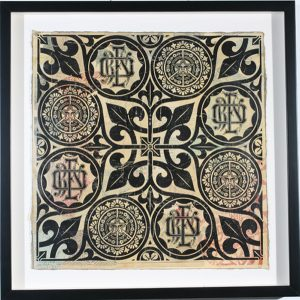 Shepard Fairey -  <strong>OBEY Floral Patterns Black</strong> (2007<strong style = 'color:#635a27'></strong>)<bR /> hand painted multiple screenprint on collaged Paper AP of sold out print 18 x 18 inches