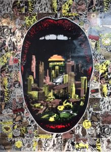 Prefab77 -  <strong>Lick LA (Gold)</strong> (2018<strong style = 'color:#635a27'></strong>)<bR /> mixed media, acrylic, stencil, spray paint and print on acrylic primed linen, 27.5 x 39.25 inches  $5,000