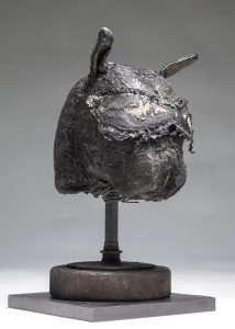 Ronald Gonzalez -  <strong>Sleeping Animal (side)</strong> (2016<strong style = 'color:#635a27'></strong>)<bR /> manipulated found objects, wax, wire, soot, metal filings over welded steel, 	 13 x 7 x 7 inches $2,250