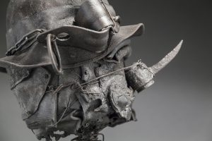 Ronald Gonzalez -  <strong>Spike (detail)</strong> (2017<strong style = 'color:#635a27'></strong>)<bR /> manipulated found objects, wax, wire, soot, metal filings over welded steel, 	 14 x 10 x 10 inches $2,250